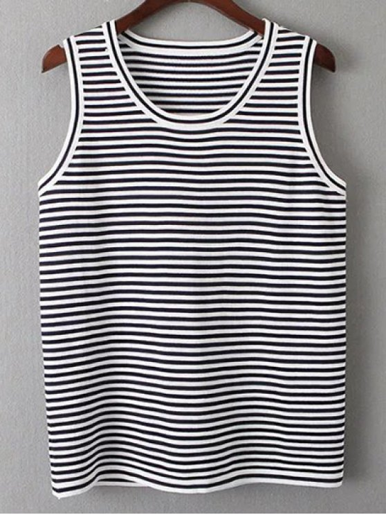 Sleeveless T-Shirt and Striped Pants Twinset - WHITE AND BLACK ONE SIZE Mobile