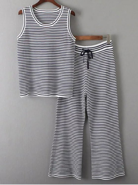 Camiseta sin mangas y pantalones a rayas Twinset - Blanco y Negro Única Talla