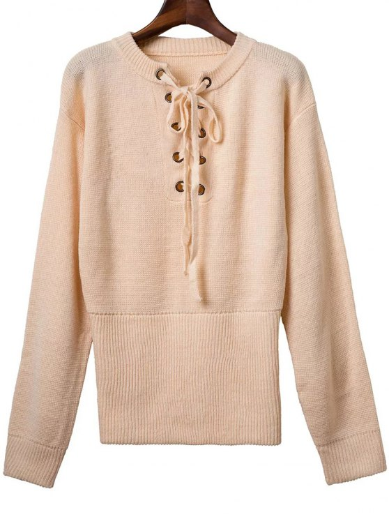 fashion Solid Color Long Sleeve Round Neck Lace Up Sweater - APRICOT ONE SIZE