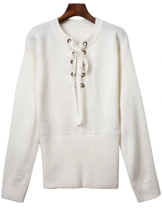 chic Solid Color Round Neck Lace Up Sweater - WHITE ONE SIZE