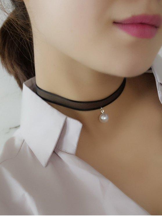 online Faux Pearl Lace Choker - BLACK