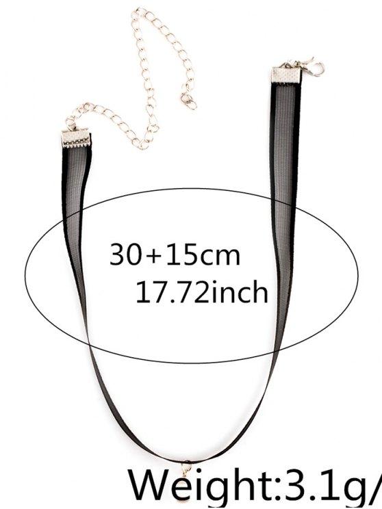 Faux Pearl Lace Choker - BLACK  Mobile