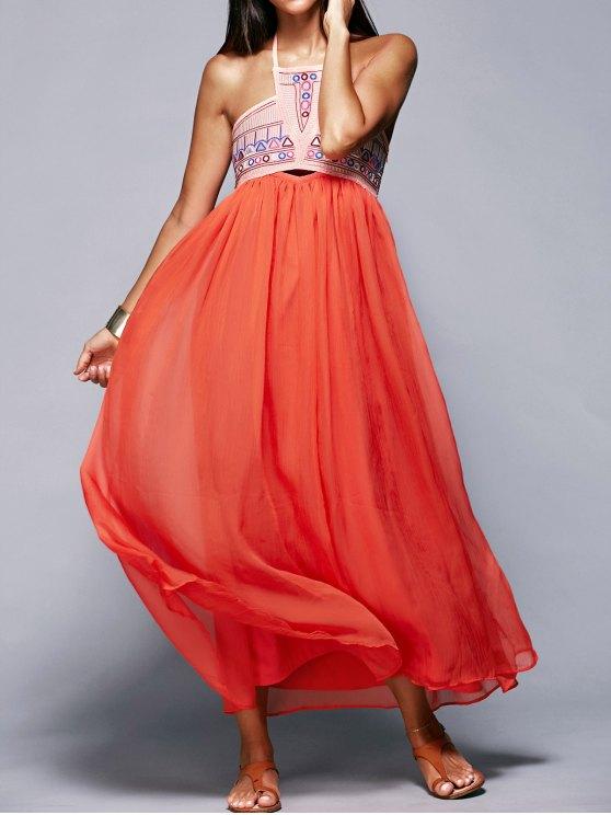 Halter Neck Flowing Dress - JACINTH M Mobile