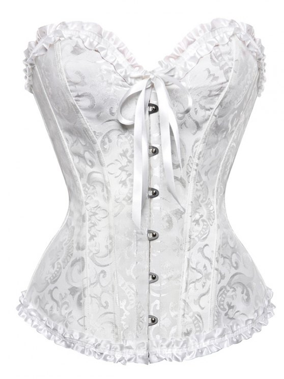 Lace Up Embroidery Corset - WHITE 2XL Mobile
