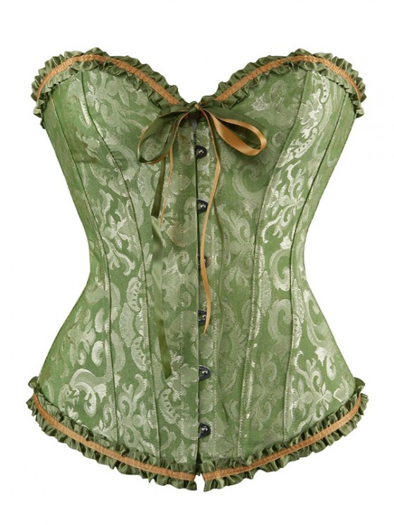 Lace Up Embroidery Corset - GREEN 4XL Mobile