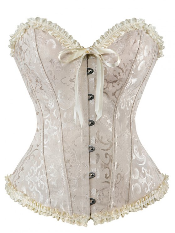 Lace Up Embroidery Corset - APRICOT L Mobile