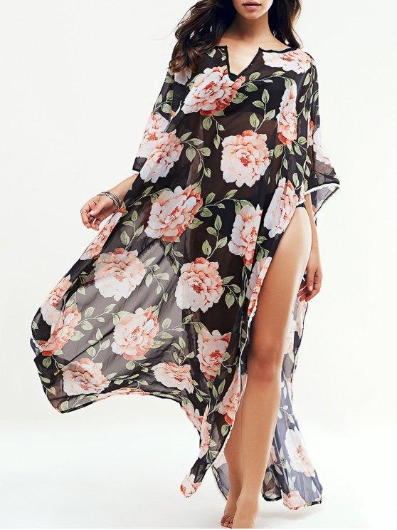 fashion Large Floral Kaftan Cover-Up - BLACK L