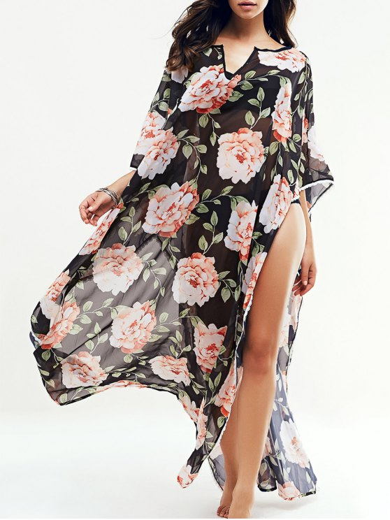 Floral grande Kaftan encubrimiento - Negro L
