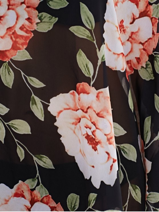 Large Floral Kaftan Cover-Up - BLACK XL Mobile