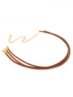 Strand Layered Velvet Choker Necklace - Brown