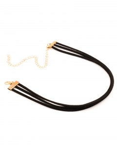 Strand Layered Velvet Choker Necklace - Black