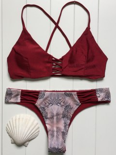 Print Splice Cami Bikini Set - Wine Red L