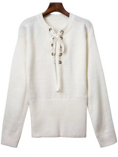 Solide Rond Couleur Neck Lace Up Sweater - Blanc