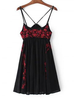 Embroidered Strappy Dress - Black S