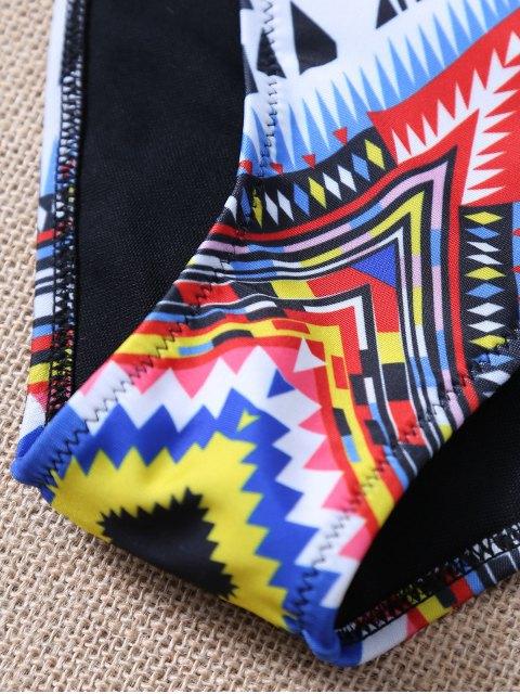 ladies Aztec Print Pullover High Neck Bikini - BLACK M Mobile