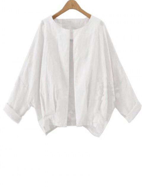 outfit Solid Color Batwing Sleeve Round Neck Jacket - WHITE XL Mobile