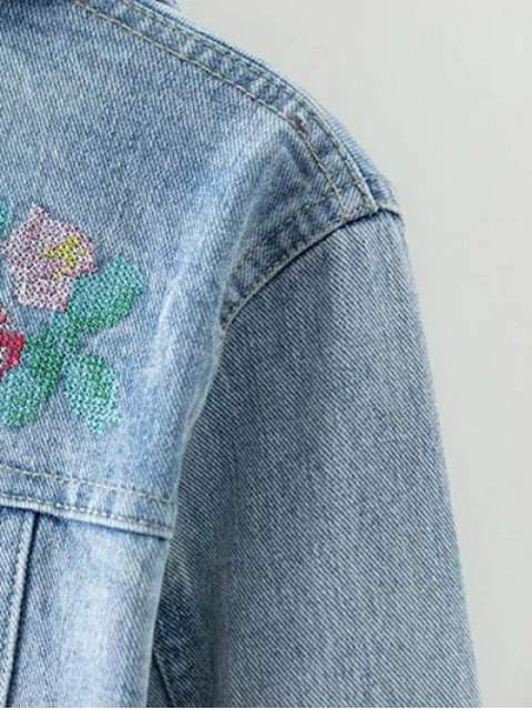 hot Metallic Button Embroidered Denim Jacket - LIGHT BLUE S Mobile