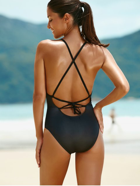 women's Print Backless Cut Out One Piece Swimwear For Women - BLACK M Mobile