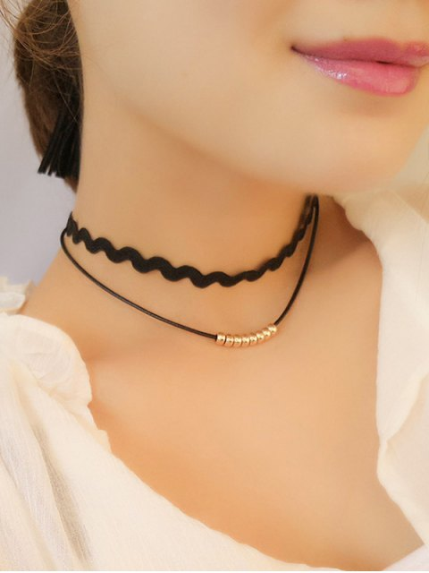 womens Wave Layered Choker Necklace - GOLDEN  Mobile