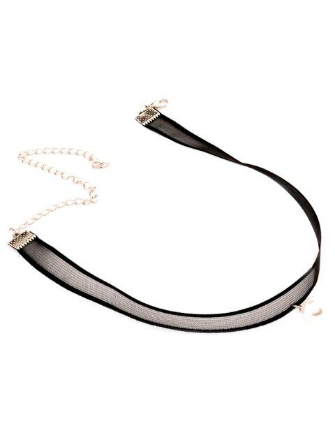 online Faux Pearl Lace Choker - BLACK  Mobile