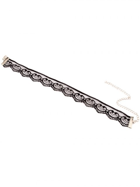 trendy Adjustable Lace Choker Necklace - BLACK  Mobile