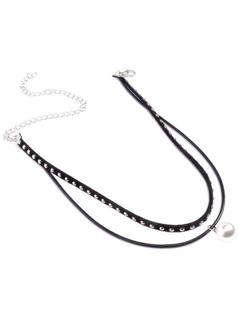 sale Fake Pearl Rivet Layered Choker - BLACK  Mobile