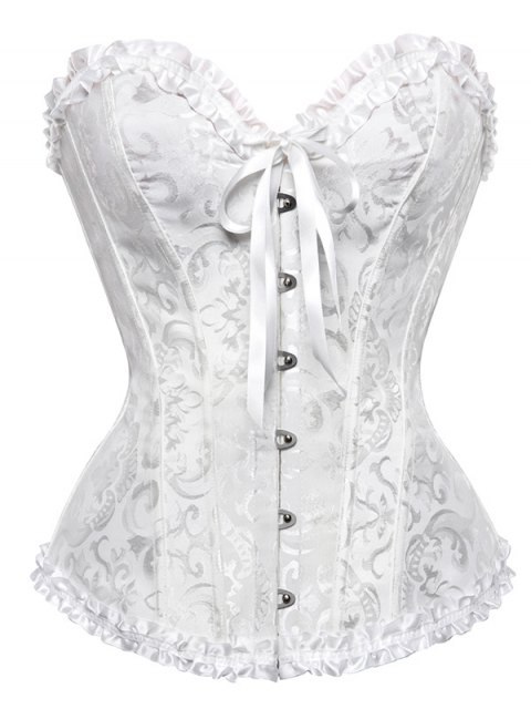 trendy Lace Up Embroidery Corset - WHITE 4XL Mobile