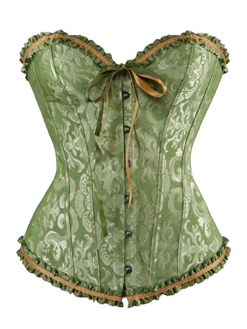 shop Lace Up Embroidery Corset - GREEN 4XL Mobile