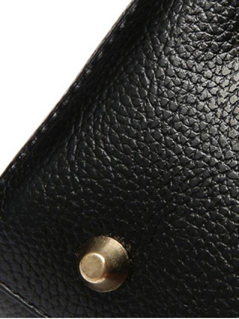 best Metal Letters Solid Color Tote Bag - BLACK  Mobile