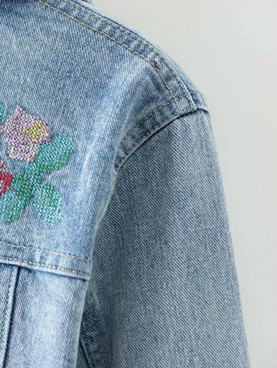 Metallic Button Embroidered Denim Jacket - LIGHT BLUE M Mobile