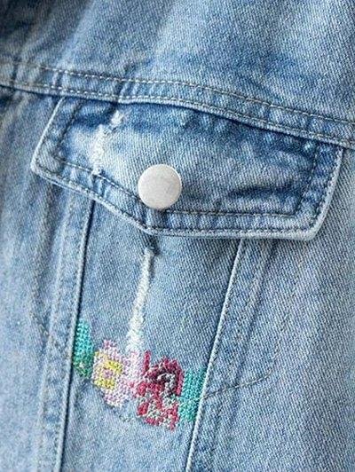 Metallic Button Embroidered Denim Jacket - LIGHT BLUE S Mobile
