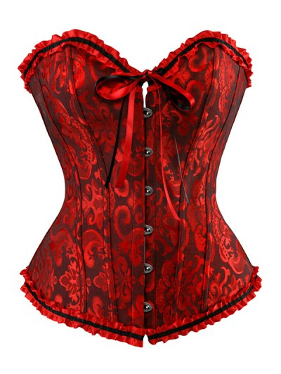 Lace Up Embroidery Corset - RED WITH BLACK S Mobile