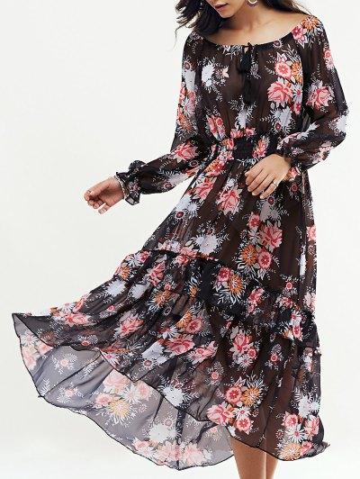 Long Sleeve Swingy Maxi Dress - Black