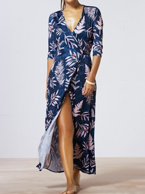 Maple Leaf Print V-Neck Wrap Maxi Dress - Deep Blue