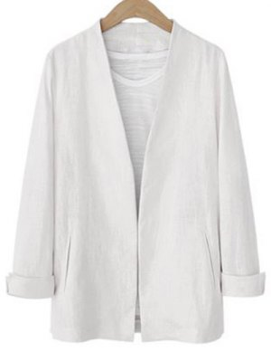 Solid Color Long Sleeve Stand Neck Jacket - White