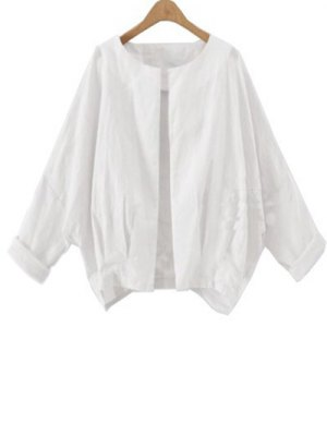 Solid Color Batwing Sleeve Round Neck Jacket - White