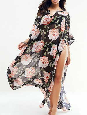 Large Floral Kaftan Cover-Up - Black