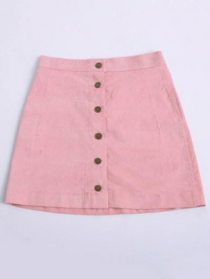Button Up Mini Corduroy Skirt - Pink
