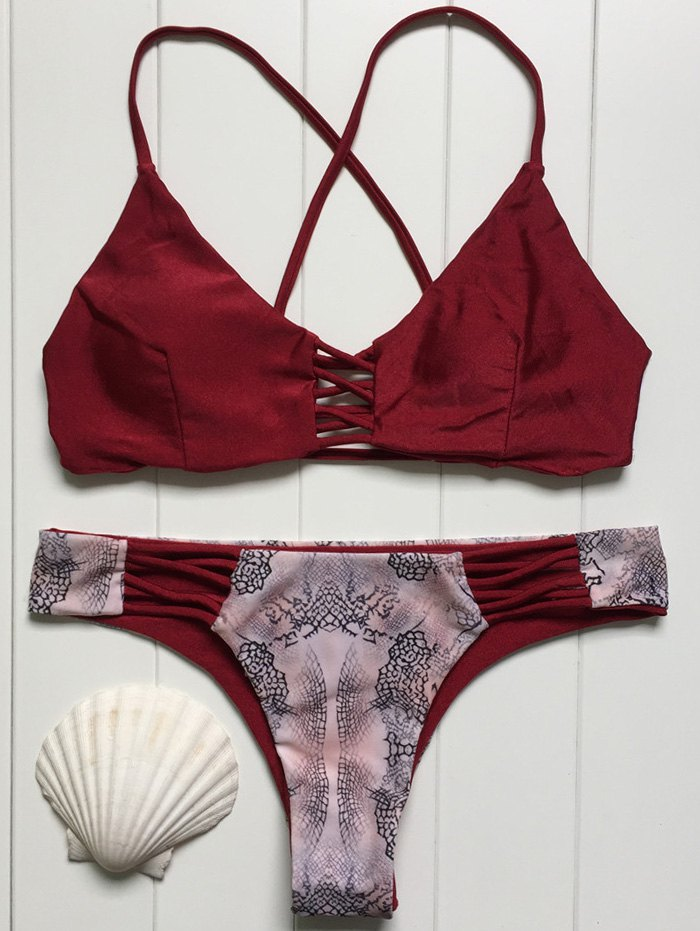 Cami Print Splice Bikini Set 180177402