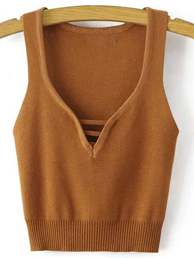 Deep V Neck Knitted Tank Top 189002808