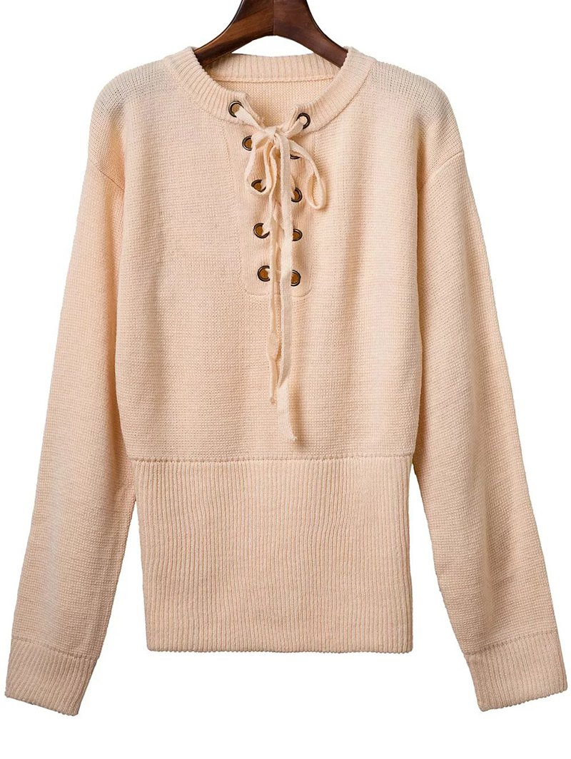 Round Neck Long Sleeve Solid Color Lace Up Sweater