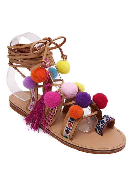 Toe Ring Tie Up Pompon Sandals - LIGHT BROWN 39