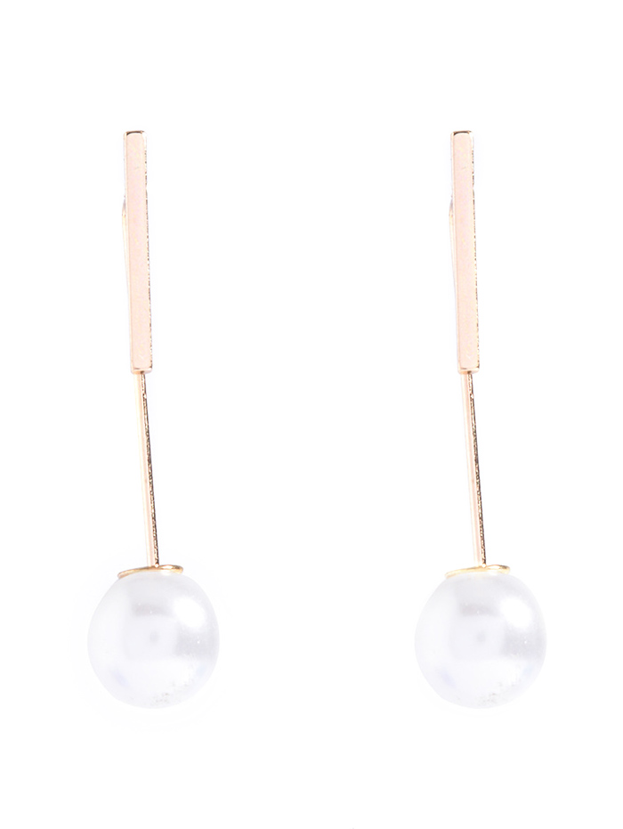 Faux Pearl Bar Earrings