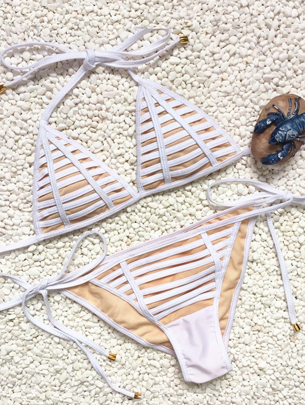 Teeny String Bikini SetSwimwear<br><br><br>Size: M<br>Color: WHITE