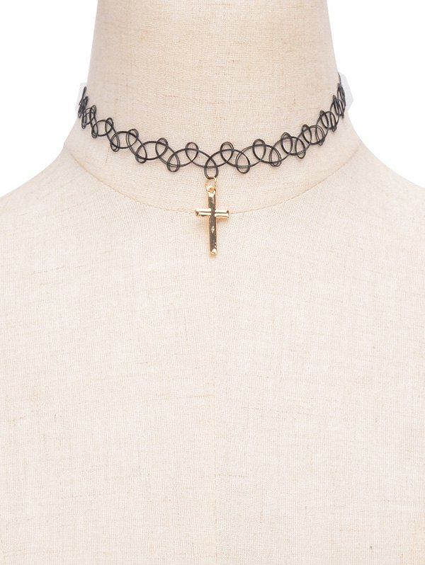 Alloy Cross Elastic Choker Necklace