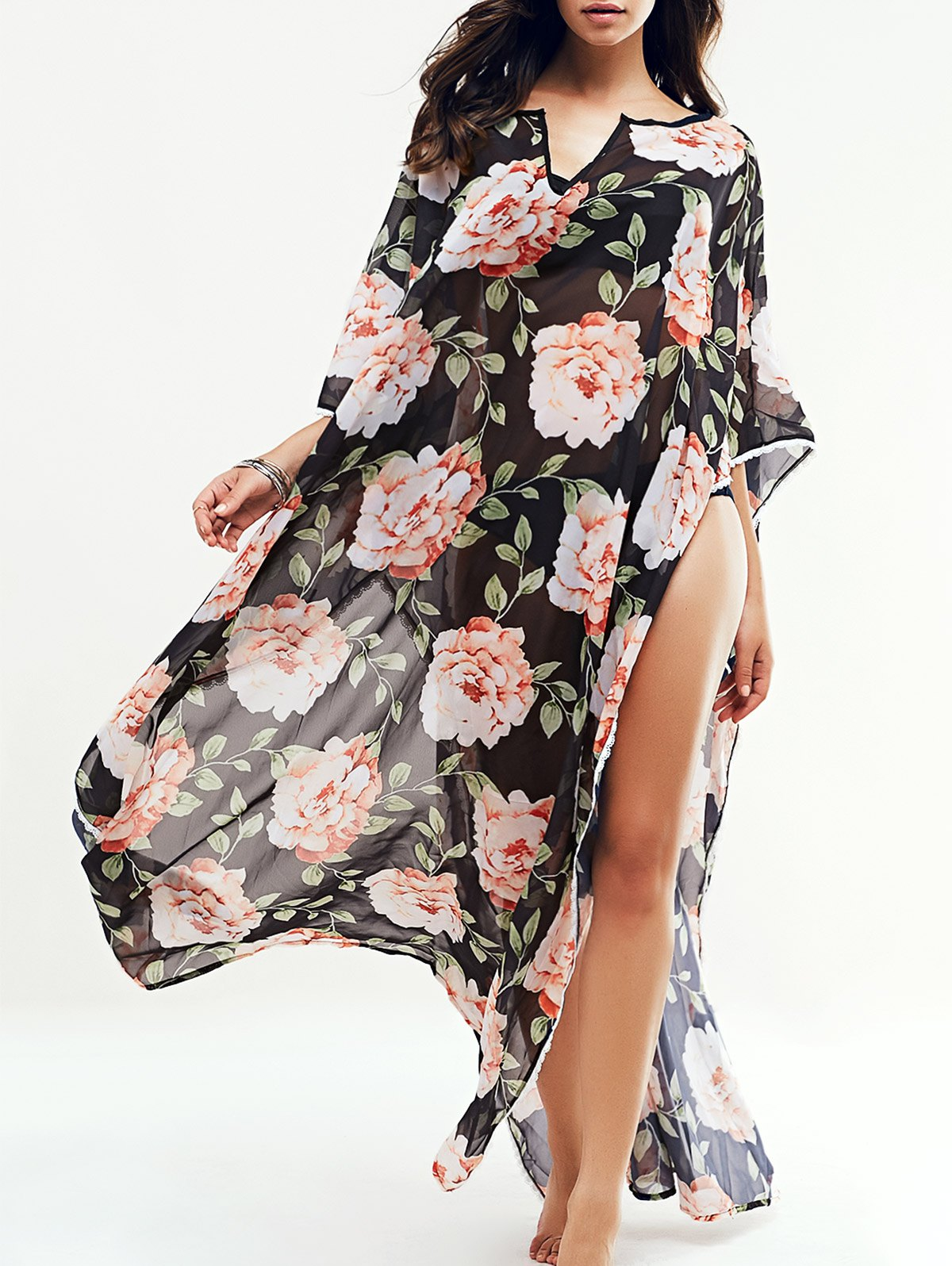 Large Floral Kaftan Cover-Up