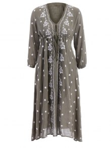 Boho Embroidered Drawstring Empire Dress - ARMY GREEN S