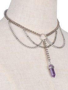 Fringed Faux Amethyst Necklace
