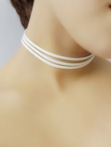 Strand Layered Velvet Choker Necklace - White