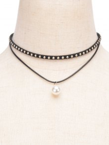 Fake Pearl Rivet Layered Choker - Black